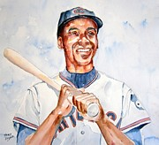 Hall Of Fame Painting Originals - Ernie Banks by Brian Degnon