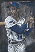 Batter Paintings - Ernie Banks by David Courson