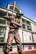 Baseball Bat Photo Framed Prints - Ernie Banks Statue at Wrigley Field  Framed Print by Paul Velgos