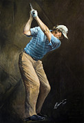 Swing Paintings - Ernie Els at the Farmers 2010 by Mark Robinson