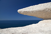 Chalk Cliffs Art - Eroded Chalk Rock White Stone Blue Sky And Sea by