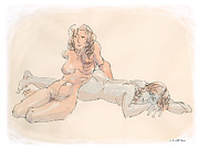 Fine Art Abstract Drawings Drawings Originals - Erotic Drawings 18 by Gordon Punt