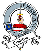 Genealogy Prints - Erskine Clan Badge Print by Heraldry