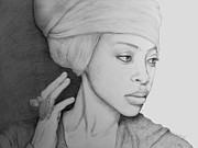 Pensive Drawings - Erykah Badu Graphite On Museum Panel by Tim Fogarty