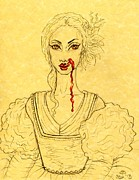 Romania Drawings - Erzibeth Bathory by Coriander  Shea