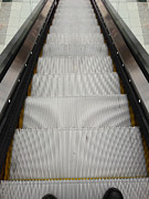 Down Photo Posters - Escalator Poster by Les Cunliffe