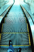 Escalator Framed Prints - Escalator Framed Print by William Voon