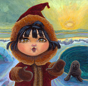 Folk Realism Paintings - Eskimo Girl in Low Light by Jacquelin Vanderwood