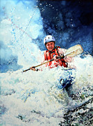 White Water Kayaking Print Paintings - Eskimo Rolls by Hanne Lore Koehler