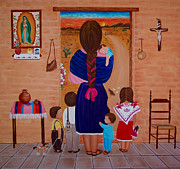 Evangelina Portillo Framed Prints - Esperando a Papa Framed Print by Evangelina Portillo
