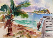Puerto Rico Painting Posters - Esperanza Harbor Poster by Barbara Richert