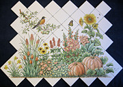 Butterfly Ceramics Prints - Espinosas Flower Garden Tile Mural Print by Julia Sweda-Artworks by Julia