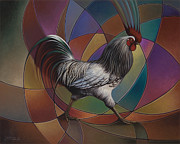 Chicken Paintings - Espolones or Spurs by Ricardo Chavez-Mendez