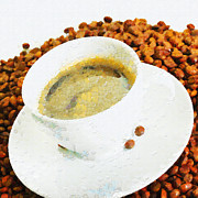 Espresso Paintings - Espresso on beans painting by Magomed Magomedagaev