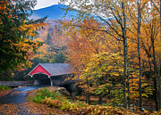 Covered Bridge Photo Framed Prints - Essence of New England - New Hampshire autumn classic Framed Print by Thomas Schoeller