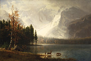 Snow Capped Mountains Framed Prints - Estes Park Colorado Whytes Lake Framed Print by Albert Bierstadt