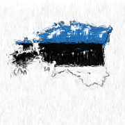 Estonia Photo Framed Prints - Estonia Painted Flag Map Framed Print by Antony McAulay