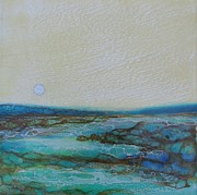 Moonscape Painting Prints - Estuary Print by Nicki Stewart