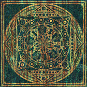 Green Chakra Prints - Eternity Mandala Weathered Print by Hakon Soreide