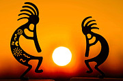 Kokopelli Posters - Eternitys Sunrise Poster by Mitch Cat