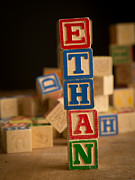 Alphabet Metal Prints - ETHAN - Alphabet Blocks Metal Print by Edward Fielding