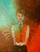 Little Boy Prints - Ethan Little Angel of Strength and Confidence Print by The Art With A Heart By Charlotte Phillips