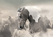 Wild Horses Digital Art Posters - Ethereal Paint Horse Power Sepia Poster by Renee Forth Fukumoto