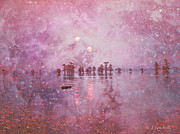 Foggy Digital Art Prints - Ethereal Sunrise From Another World Print by J Larry Walker