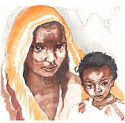 Hunger Mixed Media Posters - Ethiopean mother and child Poster by Nancy Watson