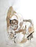 Watercolorist Painting Originals - Ethiopian Child Pieta by Esther Newman-Cohen