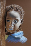 Sad Pastels Posters - Ethiopian Child Poster by Renate Dohr