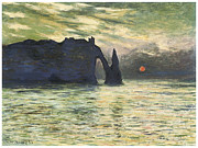 Cliffs Over Ocean Metal Prints - Etretat Sunset Metal Print by Claude Monet