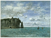 Cliffs Over Ocean Metal Prints - Etretat the Porte dAval Metal Print by Eugene Boudin