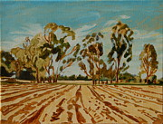 Thomas Bertram Poole Metal Prints - Eucalypus Trees near Bloemfontein Metal Print by Thomas Bertram POOLE