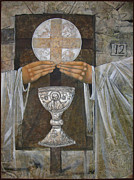 Egg Tempera Digital Art Prints - Eucharist Print by Mary jane Miller