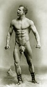 Skin Photo Metal Prints - Eugen Sandow in classical ancient Greco Roman pose Metal Print by American Photographer