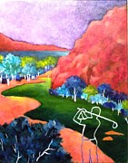 Golf Ball Painting Originals - Euphoria - Golf series by Betty M M   Wong