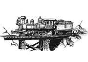 Railroad Drawings - Eureka Loco by Sam Sidders