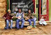 Springs Paintings - Eureka Springs Novelty Shop String Quartet by Sam Sidders