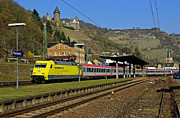 Rhine Valley Posters - Euro City train passing through Bacharach in UNESCO listed Upper Middle Rhine Valley Germany Poster by David Davies