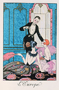 Evening Dress Painting Metal Prints - Europe illustration for a calendar for 1921 Metal Print by Georges Barbier