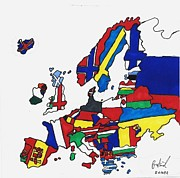 Norway Drawings Prints - European Maps Print by Ron Retsky