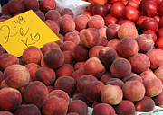 Peach Prints - European Markets - Peaches and Nectarines Print by Carol Groenen