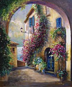 Vines Paintings - European town scene by the ocean by Gina Femrite