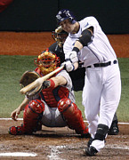 Tampa Bay Prints - Evan Longoria hits a double Print by Sanely Great