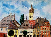 Sienna Drawings Prints - Evangelical Church Tower from Sibiu Transylvania Print by Ion vincent DAnu