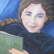 Young Girl Reading Paintings - Evangeline by Jackie Miller