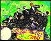 Trombone Drawings Posters - Evans Original Jazz Band Poster by Mel Thompson