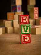 Eve Photo Framed Prints - EVE - Alphabet Blocks Framed Print by Edward Fielding