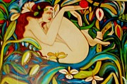 Woman Mixed Art  Giclee Prints Posters - Eve and the Apple   2- ART DECO Poster by Gunter Erik Hortz